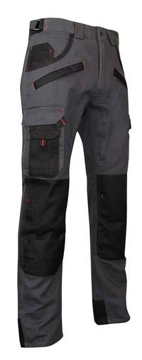 Pantalon de travail LMA Argile 1261 : un pantalon bicolore et multipoches pas cher, avec poches genoux pour genouillères